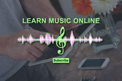Concept of online music lesson Stock Images