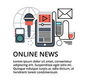Concept of online news. Modern flat thin line design vector illustration, concept of online news, for graphic and web design Stock Images