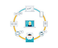Concept online onderwijs, trainingscursussen, universiteit, leerprogramma's Royalty-vrije Stock Afbeeldingen