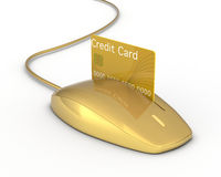 Concept of online payment. One mouse with a slot and a credit card, concept of online payment (3d render Royalty Free Stock Photo