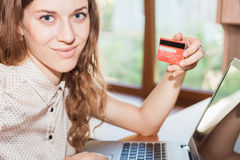 Concept of online payment by plastic card through the Internet Banking Stock Photography