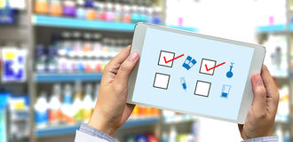 The concept of online pharmacy medicine online payment  Healthca Stock Photo
