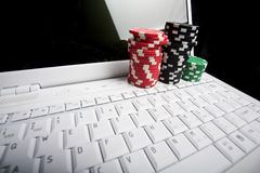 Concept - online poker Stock Photos
