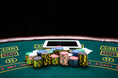 Concept of online poker. Royalty Free Stock Photography