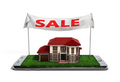 Concept of online sales house property is on the phone 3d illust Stock Images