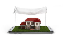 Concept of online sales house property is on the phone 3d illust Royalty Free Stock Images