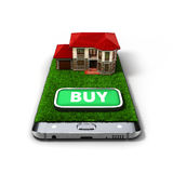Concept of online sales house property is on the phone 3d illust Royalty Free Stock Photography