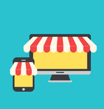 Concept of online shop, e-commerce, flat icons style of computer Royalty Free Stock Photos