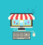 Concept of online shop, flat icons of computer, keyboard and mou Stock Images