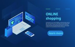 Concept of online shop, online store. Transfer money from card. Isometric  laptop, Bank card and shopping bag on blue background. 3d isometric vector Royalty Free Stock Image