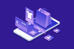 Concept of online shop, online shopping. Isometric image of phone, Bank card and shopping bag on blue background. 3d flat design. Vector illustration Royalty Free Stock Images