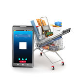 Concept of online shopping. Building materials in the shopping cart, next to the mobile phone. 3D illustration Stock Image