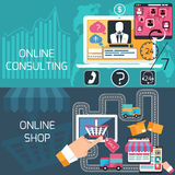 Concept for online shopping and consulting service Stock Images