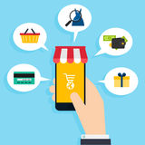Concept online shopping and e-commerce. Icons for mobile marketi Stock Images