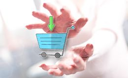 Concept of online shopping. Online shopping concept between hands of a woman in background stock photos