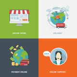 Concept of online shopping. Set of four flat style vector shopping icons on colorful squares depicting online store,online support,payment online,delivery Royalty Free Stock Photo