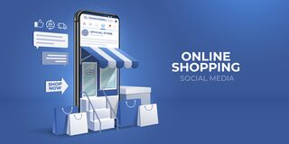 Online Shopping on social media. mobile store application concept