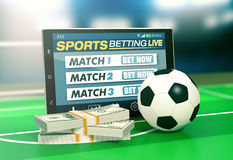 Concept of online sport bets Stock Photos