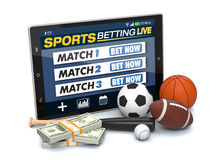 Concept of online sport bets. Tablet pc with app for sport bets, stacks of banknotes and symbols of various sports, concept of online bets (3d render Stock Image