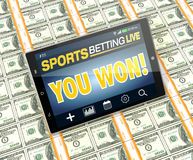 Concept of online sport bets Stock Photography