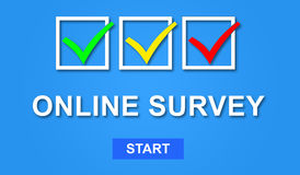 Concept of online survey. Illustration of an online survey concept Stock Photos