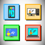 Concept of Online technology training, Vector icon set Royalty Free Stock Image