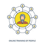 Concept of online training  people - knowledge,  courses, e-learning. Royalty Free Stock Image