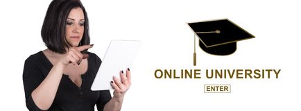 Concept of online university stock images
