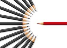 Concept onverdraagzaamheid in aanwezigheid van verschil van advies met voor symbool van potloden stock illustratie