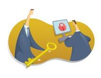 Concept op het onderwerp van cybersecurity Één persoon geeft aan een andere een sleutel om tot de computer toegang te hebben Vect vector illustratie