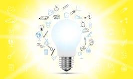 Concept op het onderwerp van ideeën en onderwijs Een realistische die gloeilamp met verlichting en een reeks van krabbelpictogram vector illustratie