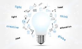 Concept op het onderwerp van ideeën en onderwijs Een realistische gloeilamp met verlichting en een reeks van geïsoleerde krabbelp vector illustratie