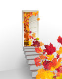 Concept with opened door into autumn landscape Royalty Free Stock Image