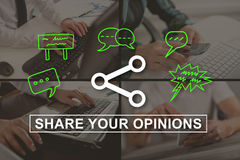 Concept of opinions sharing. Opinions sharing concept illustrated by a picture on background Stock Photos