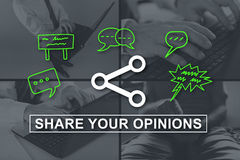 Concept of opinions sharing. Opinions sharing concept illustrated by pictures on background Royalty Free Stock Photos