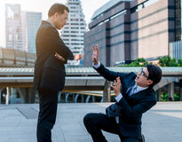 Concept of oppressed by the boss with businessman by oppressive. royalty free stock image