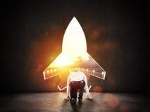Concept opstarten met een gat van de raketvorm in de muur die op het vertrek naar nieuwe doelstellingen zinspeelt royalty-vrije stock foto's