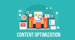 Concept optimization concept - digital marketing flat design banner. Process of content optimization, content idea, research and implementation. Digital Stock Illustration