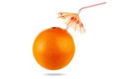 Concept orange fruit juice with umbrella isolated on white Royalty Free Stock Photos