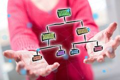 Concept of organizational chart. Organizational chart concept above the hands of a woman in background Stock Photography