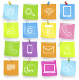 Concept orienté de note de symboles de communication sociale de mise en réseau Photo libre de droits
