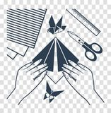 Silhouette origami lessons Royalty Free Stock Photography