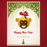 Concept ornate card with Christmas toy. Concept ornate card with Christmas toy, ribbons and place for text. Greeting card with head of Monkey - symbol of 2016 stock illustration