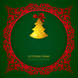 Concept ornate frame with Christmas toy and ribbons. Royalty Free Stock Images