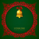 Concept ornate frame with Christmas toy and ribbons. Royalty Free Stock Photos