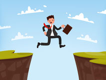 Concept of overcoming obstacles to work. Businessman jumps open. Vector illustration of a flat design Stock Photography