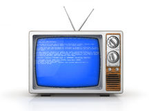Concept of overload of ether. Broken retro TV with error on screen on a white background. Blue screen. 3d illustration Royalty Free Stock Image
