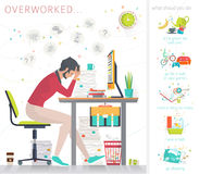 Concept of overworked man. Royalty Free Stock Photo
