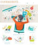 Concept of overworked man. Stock Photos