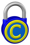 Concept: padlock with sign copyright. 3D rendering. Stock Image